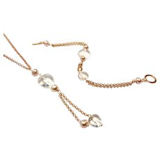 Heart Shape Rose Quartz with Pink FWP Necklace and Bracelet Set