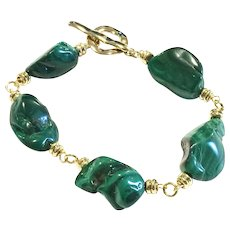 Dark Green Malachite Nugget Bracelet