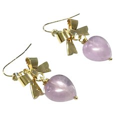 Heart Shape Lavender Amethyst and Bow Earring - February Birthstone - Great Valentine's Gift