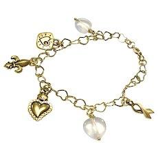 Heart Themed Charm Bracelet With Rose Quartz - Great Valentine's Gift