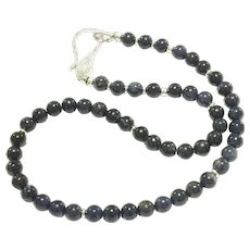 Natural Untreated Blue Sapphire Beads Necklace With Micro Pave CZ Sterling Silver Clasp