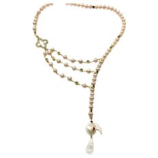 Natural Pink and Large White Baroque Freshwater Cultured Pearl Offset Necklace