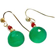 Intense Green Onyx and Coral Bead Earring on Rose Gold Plate Wire