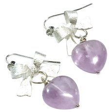 Lavender Amethyst Heart Dangling Earring - February Birthstone- Perfect Valentines Gift