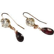Faceted Briolette Garnet Earring Rose Gold Plate Ear Wire