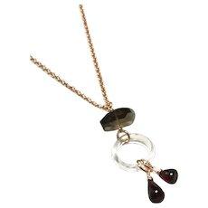 Briolette Garnet Quartz Loop and Smoky Quartz Rose Gold Plate Necklace