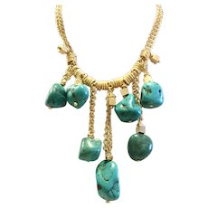 Dangling Natural Turquoise Necklace