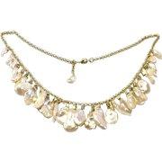 Large Champagne Gold Keshi Petal Pearl Dangling Necklace