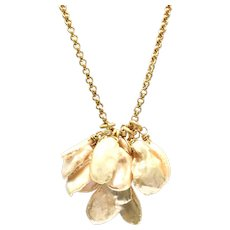 Champagnes Gold Keshi Petal Pearls Cluster Pendant Necklace