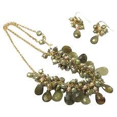 Intricate Green Garnet Tsavorite and Green Keshi Pearl Necklace and Earring Set