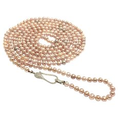 75 Inches 7-8mm Pink Lavender Freshwater Cultured Pearl Long Rope Necklace Micro Pave Sterling Silver Clasp