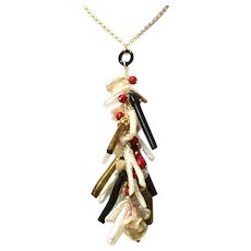 Jewels of the Sea 2 Branch Pearls Natural Gold and Black Coral and Red Coral Cascading Dangling Lariat Style Chain Necklace