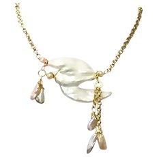 Large Biwa and Keshi Freshwater Pearl Pendant Necklace