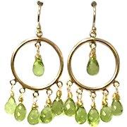 Delicate Briolette Peridot Chandelier Earring on 14K Gold Filled