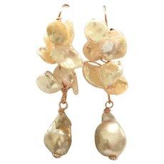 Keshi Petal and Baroque Pearls Cluster Dangling Earring