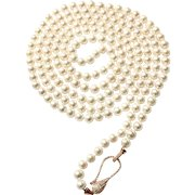 65 inches 8-8.5mm Freshwater Cultured Pearl Long Necklace with Rose Gold Vermeil Sterling Silver Clasp