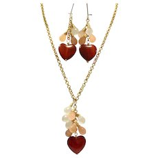 Heart Shape Red Carnelian and Peach n Cream Moonstones Lariat Style Necklace and Earring Set