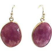 22 carats Pink Ruby / Sapphire Rose Cut Earrings Vermeil Bezel and GF Ear Wire