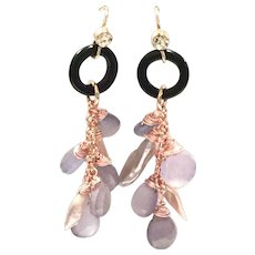 Pink Chalcedony, Pearl, and Black Onyx Dangling Earring on Rose Gold Plate Ear Hook
