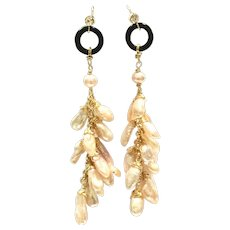 """3"""" Pink Lavender Pearl, and Black Onyx Dangling Earring on Gold plate Ear Hook"""
