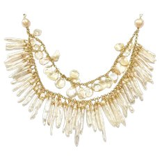 Cleopatra Style Freshwater Petal Keshi and Stick Pearl Necklace