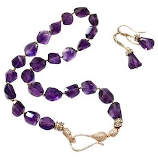 Intense Purple Madagascar Amethyst Necklace Earring Set in Rose Gold Plate