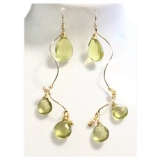 35ct Brilliant Lemon Quartz 14KT Gold Filled Dangling Earring