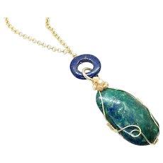 Azurite Lapis Lazuli Wire Wrapped Pendant Necklace