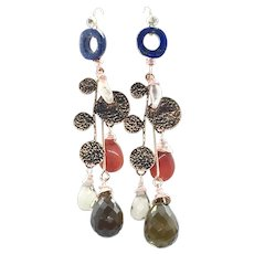 "4"" Smoky Quartz Red Carnelian Lapis Lazuli Pink Pearls Dangling Earring"