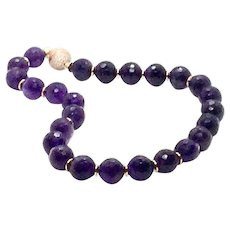 Large 16mm Madagascar Amethyst Intense Purple Faceted Round Bead Necklace