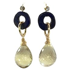 46ct Lemon Quartz Faceted Briolette Drop Dangling Earring With Lapis Lazuli
