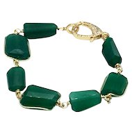 Intense Green Onyx Faceted Chunks With Wire Wrapped Bezel