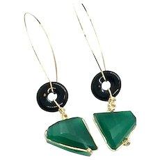 Art Deco Style Green Onyx and Black Onyx Dangling Earring