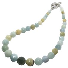 Untreated Mixed Color Aquamarine Graduated Necklace