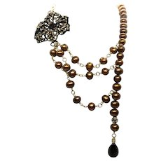 Gold Pearl Layered Necklace With Crystal Flower and Smoky Quartz Drop