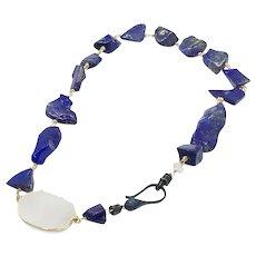 Royal Blue Lapis Lazuli Nugget Necklace With White Quartz Druzy