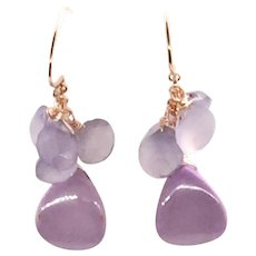 Rare Phosphosiderite and Chalcedony Dangling Earring in Orchid Lavender Light Purple Color Rose Gold Vermeil Hill Tribe Silver Ear Wires