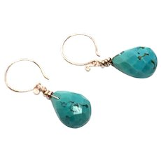 35ct Natural Turquoise Drop Earring Rose Gold Vermeil Karen Hill Tribe Ear Wire