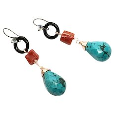 Blue Turquoise, Italian Red Coral, and Black Onyx Earring With Black Sterling Silver Ear Wire