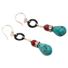 Blue Turquoise, Red Coral, and Black Onyx Earring With Rose Gold Vermeil Karen Hill Tribe Silver Ear Wire
