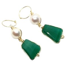 Green Onyx and Pearl Earring With Gold Vermeil Hoop