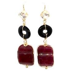 Large Red Corundum Ruby and Black Onyx Earring