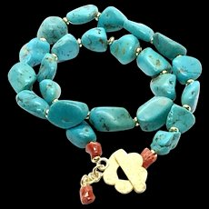 310 ct Natural Arizona Turquoise and Italian Red Coral Necklace Gold Vermeil Clasp