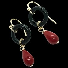 Natural Undyed Oxblood Red Coral and Black Onyx Earring GF