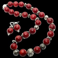 Stunning 16mm Oxblood Red Coral Undyed Bali Sterling Silver Necklace Earring Set
