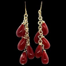 Natural Undyed Oxblood Red Coral Dangling Earring Gold Filled and Vermeil