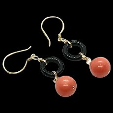 Natural Angel Skin Salmon 10mm Coral and Black Onyx Earring Vermeil and Gold Filled