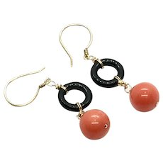Natural Pacific Momo Angel Skin Salmon 10mm Coral and Black Onyx Earring Vermeil and Gold Filled