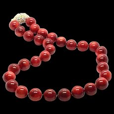 Rare Natural Oxblood Red 14mm 97 grams Coral Necklace with Swarovski Crystal Clasp