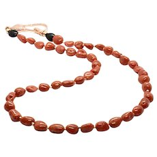 Natural Italian Mediterranean Coral Beads Necklace Rose Gold Vermeil